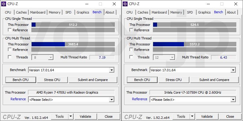 ryzen-7-4700u-core-i7-10750h-cpu-z-benchmark