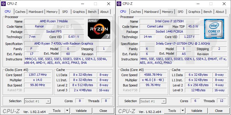 ryzen-7-4700u-core-i7-10750h-cpu-z-info