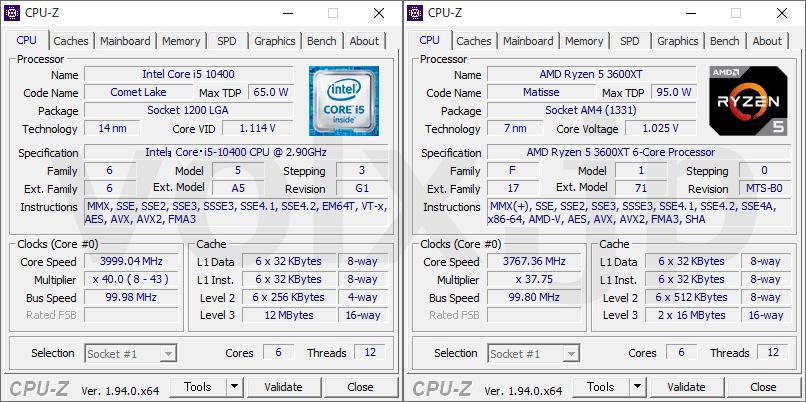 core-i5-10400-ryzen-5-3600xt-cpu-z-info