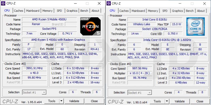 ryzen-5-4500u-core-i5-8265u-cpu-z-info